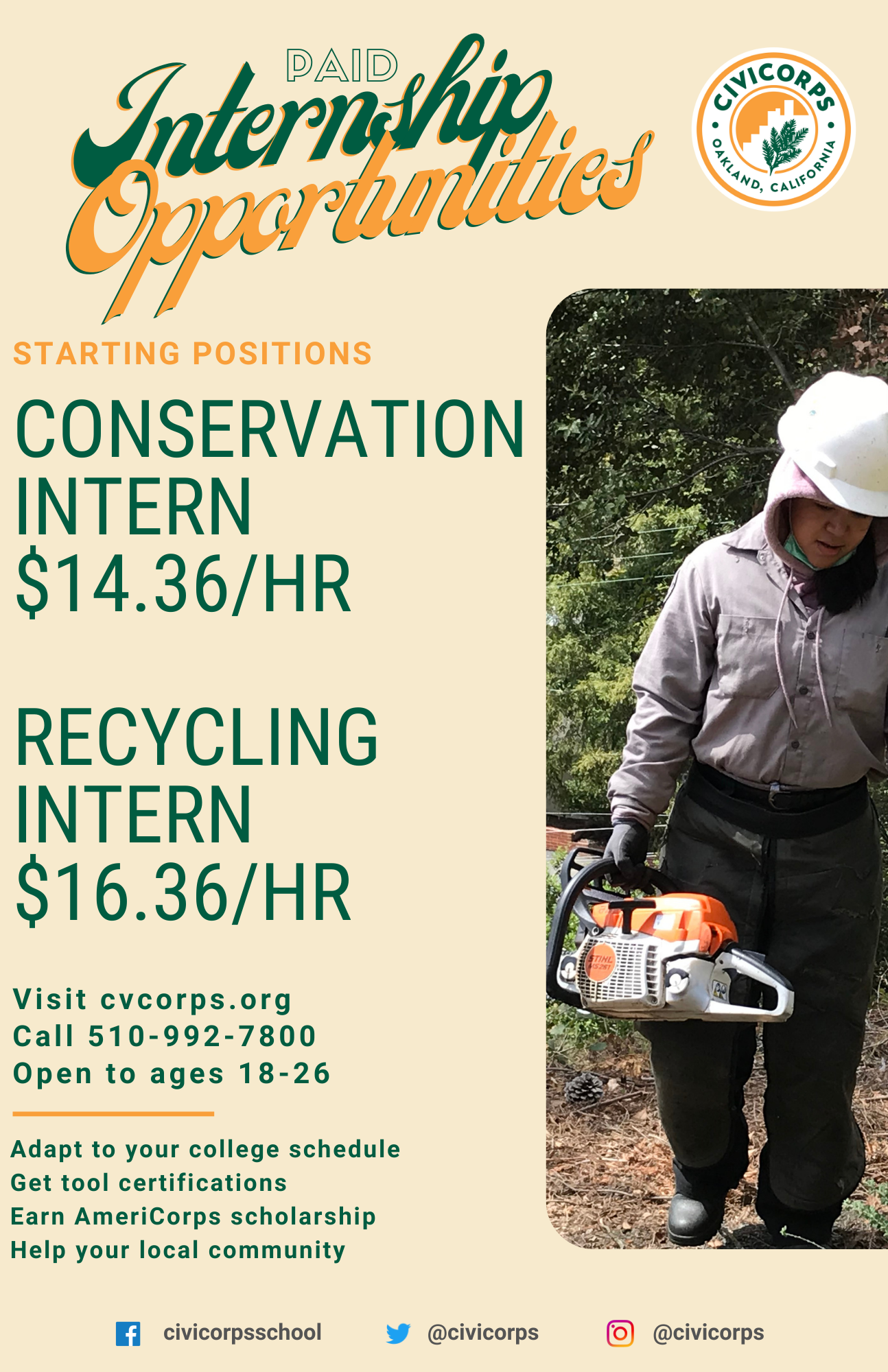 Land management and recycling social enterprises: 398 tons of CRV material collected 156 tons of E-waste collected 119 used oil centers visited 5,967 abandoned tires collected 103 miles of trail construction and maintenance 34 miles of shoreline and waterway improvement 579 acres of wildland fire mitigation 23 acres of habitat restoration 54,121 hours of paid conservation training.